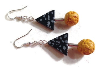 Yellow and Black Earrings - Silver Jewelry - Gemstone Jewellery - Fashion - Mod - Funky - Cinnibar - Chunky