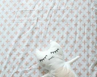 Plus Blush Crib Sheet, Baby Girl Toddler Bedding, Custom design, Nursery Decor, Boho, Pink Vintage