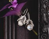 Sterling Silver Moonstone Earrings-Silver Leaf Earrings-Moonstone Grecian Chic Earrings-Ancient Greek Inspired Earrings-Moonstone Jewellery