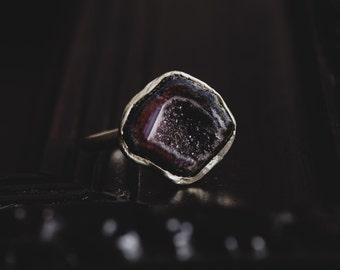 Dark Geode Ring-Sterling Silver Burgundy Druzy Ring-Geode Druzy Ring-Dark Romantic Jewellery-OOAK Rings