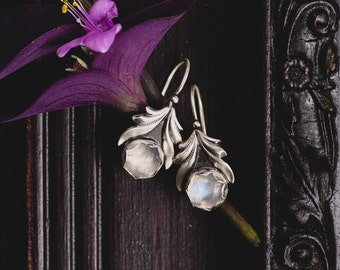 Sterling Silver Moonstone Earrings-Silver Leaf Earrings-Moonstone Grecian Chic Earrings-Ancient Greek Inspired Earrings-Moonstone Jewellery