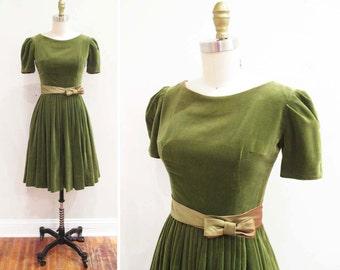 Vintage 1950s Dress | Olive Green Velvet 1950s 60s Party Dress | size xs - small