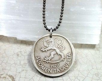 Finnish Lion Coin Necklace. vintage 1977 Finland coin. Lion necklace. rampant lion. leo necklace. mens necklace. boyfriend gift. medallion