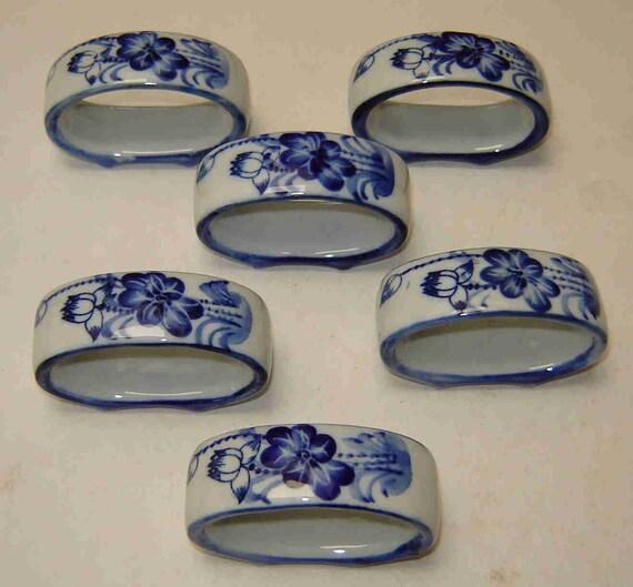 blue floral napkin rings set of six 6 white ceramic w