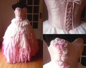 Super Romantic, Dreamy Pink Wedding Gown, made to order. Strapless, corset, lace up back, hand sewn, completely silk couture dress.
