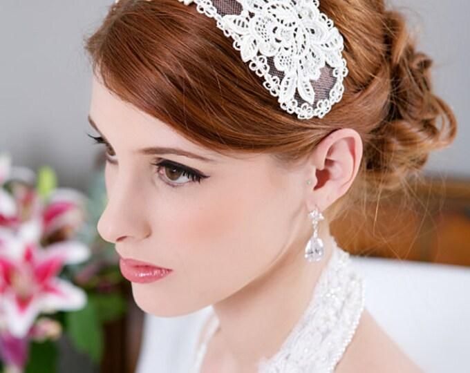 Vintage Lace Bridal Cap, Ivory Lace Cap, Ivory Headpiece, Ivory Lace Crown, Princess Grace, Veil Headband, Wedding Cap Headpiece - STYLE 193