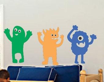 Monsters Wall Decals Alien Decals Play Room Decals Toy Room Decor Kids Vinyl Wall Decals Bedroom Decor Bedroom Decals Party Decor Boys Girls