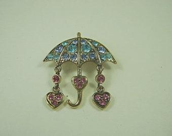 Vintage RHINESTONE UMBRELLA BROOCH w/ Dangling Pink Heart Raindrops Pin