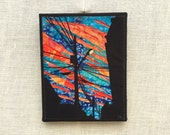 Opening the Sky Light, 8x10 inch canvas, Fiber Art Urban Landscape, all recycled fabrics, sewn on a 1968 Singer, ready to hang