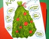 Kale Christmas Tree Card - Funny Christmas Card - Healthy Eating Holiday Card