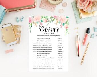 Instant Download - Spring Shower Celebrity Baby Names Cards
