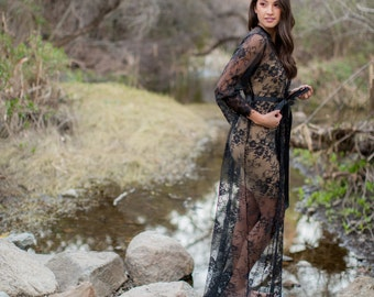 Extra Long French Lace Robe, Black Alencon Lace Robe, A must-have for every bride to be