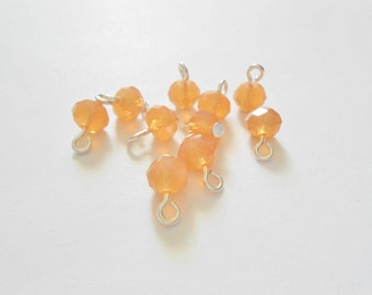 Peach Colored Faceted Rondelle Glass Dangle Beads