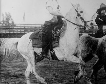Woman rodeo rider vintage photograph, digital download