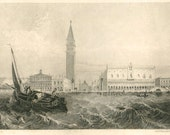 1856 Antique Print of Venice,  Palazzo Ducale  and St. Mark's Square Black and White Engraving