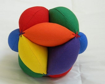 Sensory Learning Toy - Montessori Preschool Ball - Baby Clutch Ball - Primary Colors Soft Ball - Learn to Throw Ball - Handmade Baby Gifts