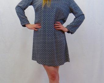 Rosie Navy Blue, 3/4 Long Sleeve A Line  Fair Trade Tunic S/M/L