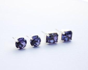 Swarovski earrings, purple post earrings, Tanzanite earrings, purple post earrings, octagon earrings, Tanzanite stud earrings, wedding 3