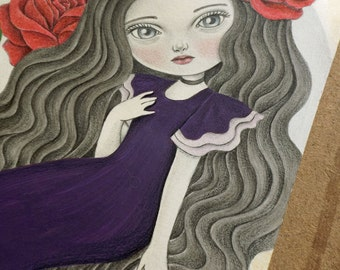Watercolor Painting of a Spanish Beauty, Original Fantasy Art of Big Eyed Girl in Flamenco Dress and Red Roses