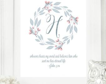 "Instant ""Monogram Scripture"" Wall Art Print 11x14 Typography Letter ""H"" Printable Home Decor"