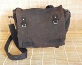 Vintage Faded Black Canvas Shoulder Strap Messenger Bag