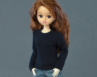 T-shirt for 25 cm Obitsu female size doll figure - black, long sleeves