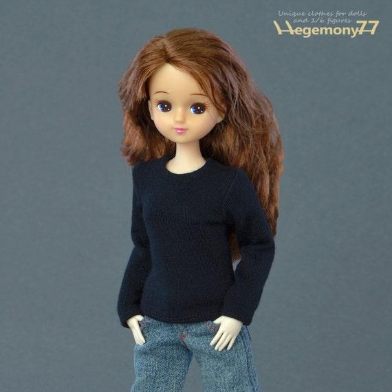 T-shirt for: 25 cm Obitsu female size fashion dolls / figurines - black, long sleeves