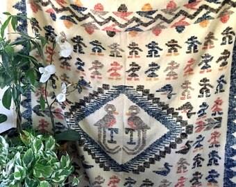 Large Vintage Guatemalan Quetzal Bird Tribal Woven Wool Blanket / Rug / Wall Hanging Tapestry
