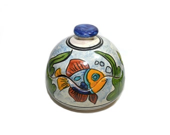 Vintage Mexican Tonala Pottery Dish Tonala Covered Dish Tonala Fish Blue and Orange Lidded Pottery Dish