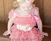 Coral Lace Dress, Flower Girl Dress, Lace Dress, Girls Dress, Country Wedding, Vintage Dress, Birthday Dress, Girls Lace Dress, Shabby Chic