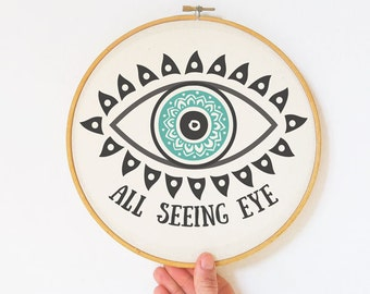 All seeing eye embroidery Hoop Art-hand printed hoop-hoop wall art-occult home decor-custom hoop art-illuminati wall art-NATURA PICTA EHO12