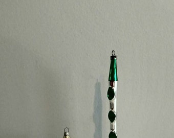 Musical Figural Ornaments Drum Flute Vintage Christmas Blown Glass Green Silver FREE SHIPPIING - order 3 or more Christmas  listings