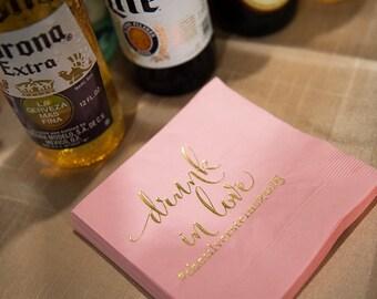 Custom Gold Foil and Pink Cocktail Napkins - Wedding Reception, Event, Shower - Pink Gold, Beverage, Drink Size