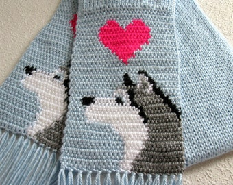Husky Dog Scarf. Baby blue, crochet scarf with Siberian huskies.  Alaskan malamute dog scarf