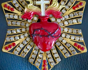 Early 1900's Vintage SACRED HEART Ex Voto Rhinestone Adornment-  Rare and perfect for your loved one