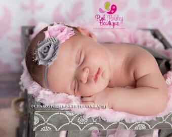 Baby headbands - Pink & Gray Newborn Headband - Baby Girl Headbands - Baby Hair Accessories - Infant Headband - Baby Hair Bows. Baby Bows