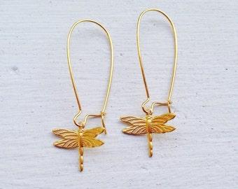 Dragonfly Earrings/Gold Earrings/Boho Earrings/Bohemian Earrings/Boho Chic/Nature Earrings/Gifts For Her/Dragonfly Jewelry/