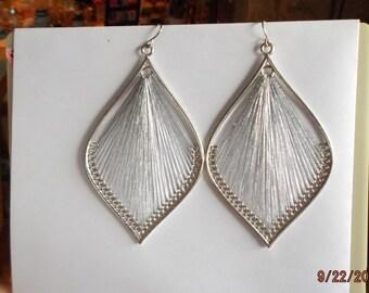 Pretty Orament Metallic Silver on Silver Large Leaf  Sexy Thread Boho, Chandlier, Native, Southwestern, Boho, Earrings Ready to Ship