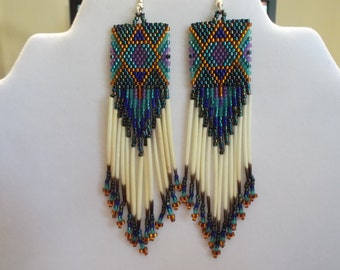 Native American Style Beaded Jeweled Rug Earrings Peacock, Blue, Purple, Amber, with Quills Southwestern, Boho, Hippie Great Gift