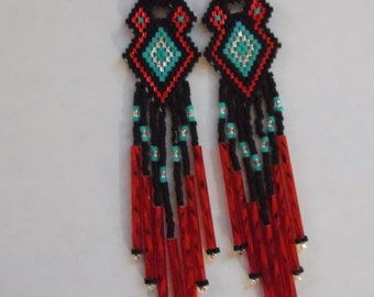 Native American Style Beaded Earrings Red, Turquoise, Black and Silver Southwestern, Boho, Gypsy, Geometric, Belly Dancer, Great Gift