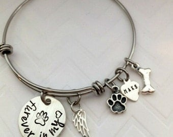 Pet Memorial Bracelet- Paw Print Charm Bracelet- Hand Stamped Jewelry - Sympathy Angel Wing Gift - Dog Bone Memorial Gift - The Charmed Wife