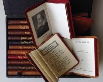 Shakespeare's Works in 24 miniature leather-bound volumes with leather-covered case. Knickerbocker Press, ca. 1925. Complete & beautiful