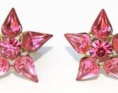 Vintage Pink Rhinestone Screw Back  Earrings by Coro
