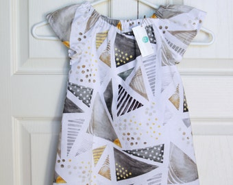 Triangle Dress in Grey, Charcoal, and Gold.