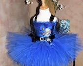 Police Tutu Dress, Police Officer Halloween Costume, Blue Tutu Dress, Super Hero Halloween Costume, Toddler, Big Girls Costume 3T 4T 5 6 7 8