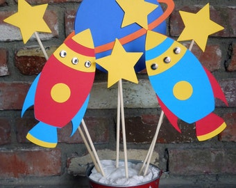 Rocket Ship Space Theme Astronaut Birthday Party Centerpiece set