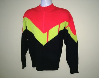 Vintage 80s Men's NEON Ski Sweater 1980s Hipster Chevron New Wave Punk Pullover Pull Over  Ski wear Black Green Red White Stag size Large