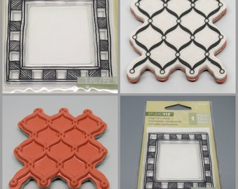 Unmounted Rubber Stamps Set 2, Frame and Weave Pattern