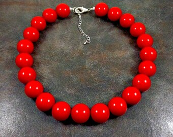 Statement Necklace, Red, Big Necklace, Red Necklace, Chunky Necklace, Big Bead Necklace, Beaded, Big Red Necklace, Round Bead Necklace