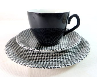 SALE! Retro Mid Century Trio, Barratts Black & White Dogtooth Check Delphatic White Ironstone Cup, Saucer, Teaplate Trio 1960s